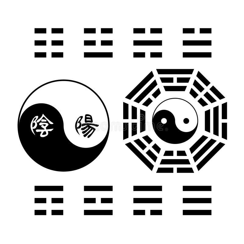 Sinal creativo do trigram do símbolo de Yin Yang ilustração do vetor