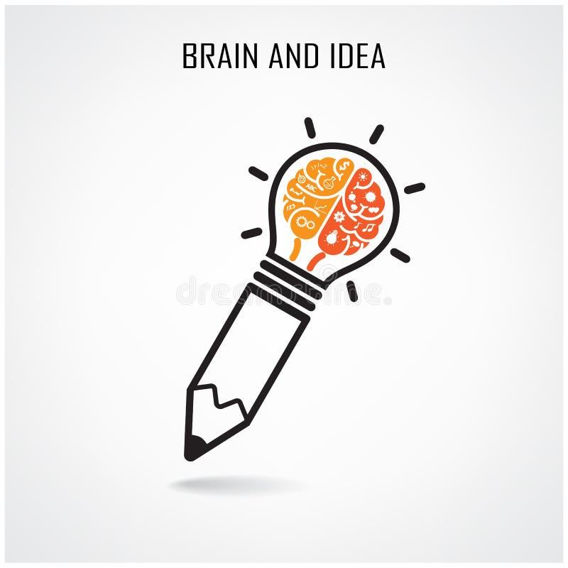 Sinal criativo do cérebro e do lápis ilustração do vetor