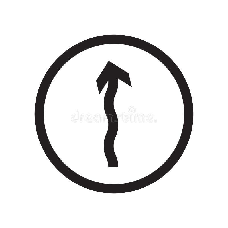 Sinal Curvy e símbolo do vetor do ícone da estrada adiante isolados no fundo branco, conceito Curvy do logotipo da estrada adiant ilustração stock