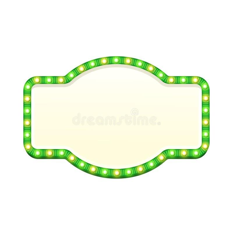 Sinal 3d claro retro vazio com os bulbos de brilho isolados no fundo branco Quadro indicador verde da rua com amarelo e verde ilustração stock