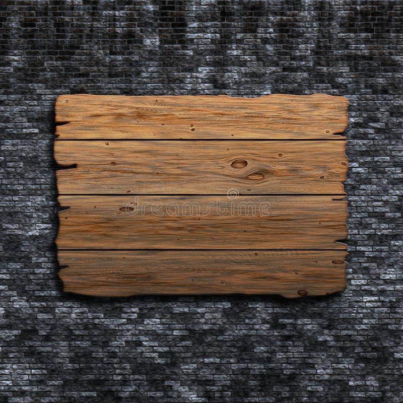 sinal 3D de madeira velho contra uma parede de tijolo do grunge ilustração do vetor