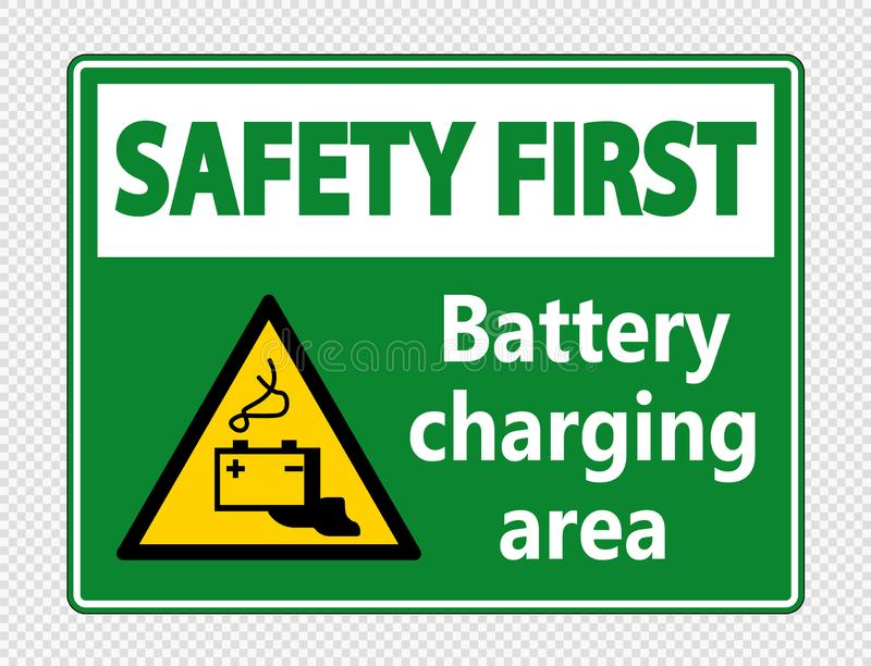 sinal da área de carregamento da bateria da segurança em primeiro lugar do símbolo no fundo transparente ilustração do vetor