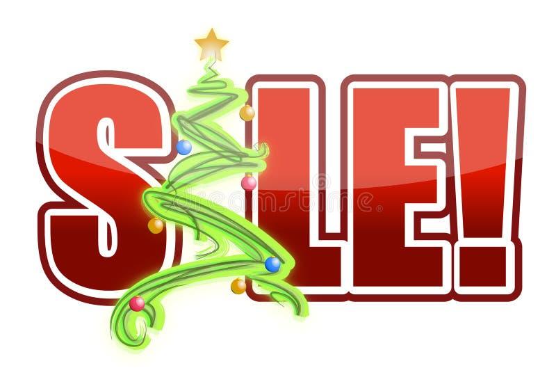 Sinal da árvore da venda do Natal ilustração do vetor