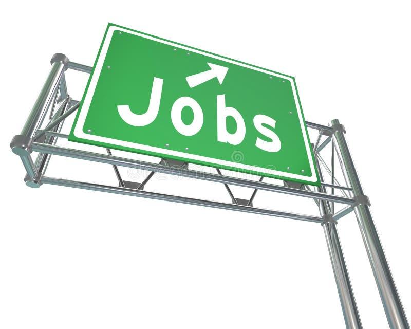 Sinal da autoestrada do verde da palavra dos trabalhos que aponta o emprego novo da carreira ilustração stock