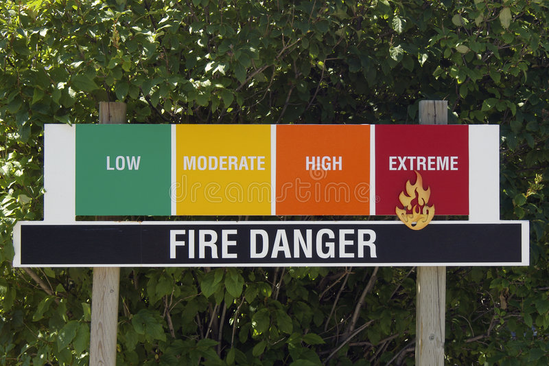 Sinal da avaliação do perigo do incêndio fotos de stock royalty free