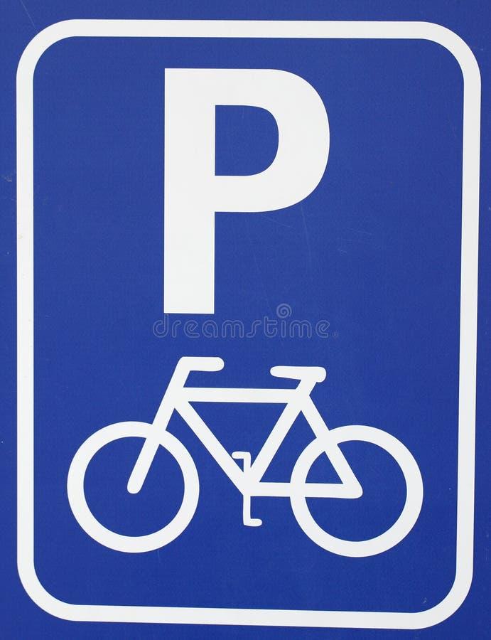 Sinal da bicicleta do estacionamento do ícone fotografia de stock