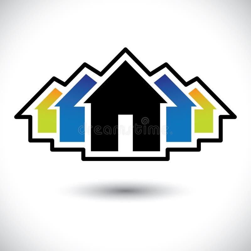 Sinal da casa (home) & da residência para bens imobiliários ilustração do vetor