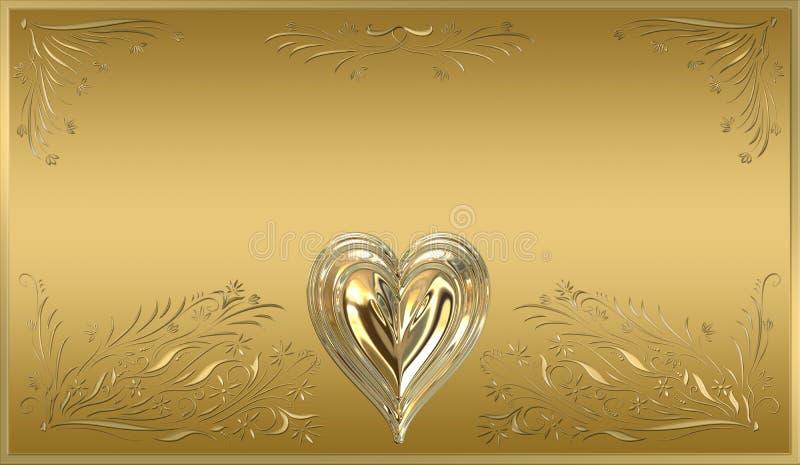 sinal da chapa do frame do coração do ouro ilustração royalty free