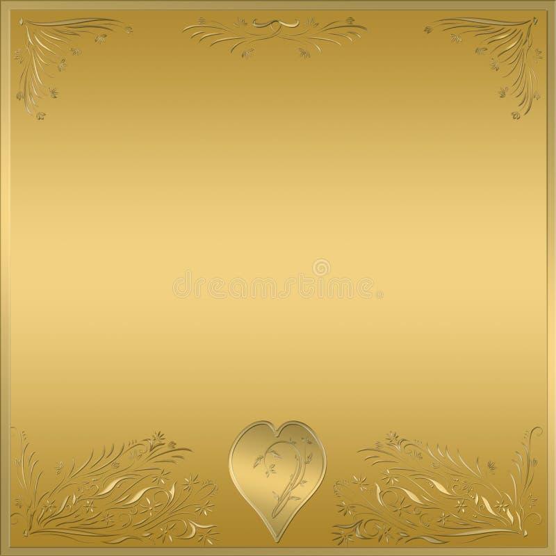 sinal da chapa do frame do coração do ouro ilustração stock
