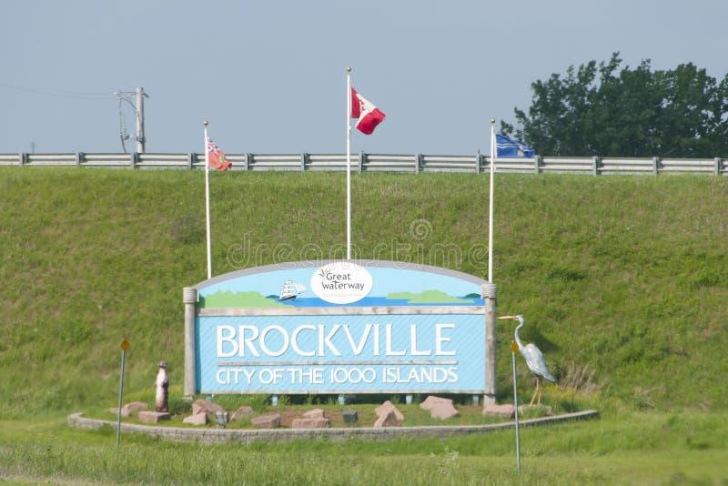 Sinal da cidade de Brockville - Canadá imagens de stock