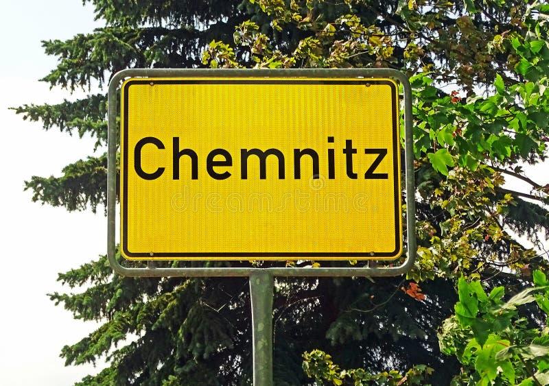 Sinal da cidade de Chemnitz (Alemanha) imagem de stock royalty free