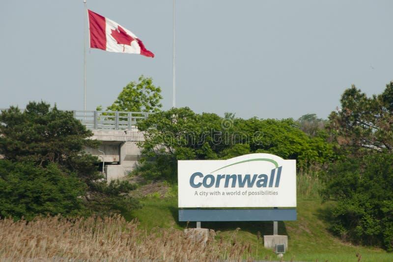 Sinal da cidade de Cornualha - Canadá imagens de stock royalty free