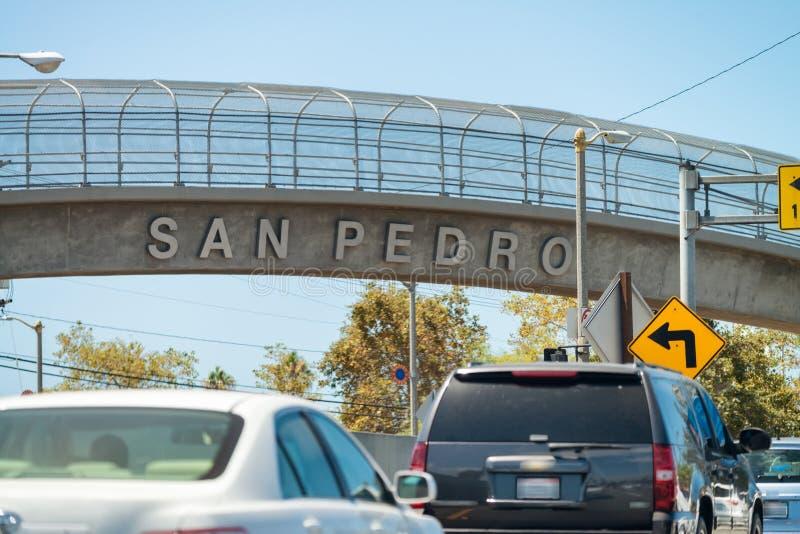 Sinal da cidade de San Pedro, Califórnia imagens de stock royalty free