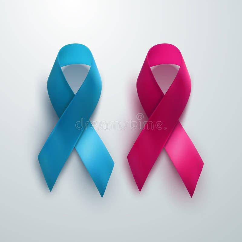 Sinal da conscientização do peito e do câncer da próstata ilustração do vetor
