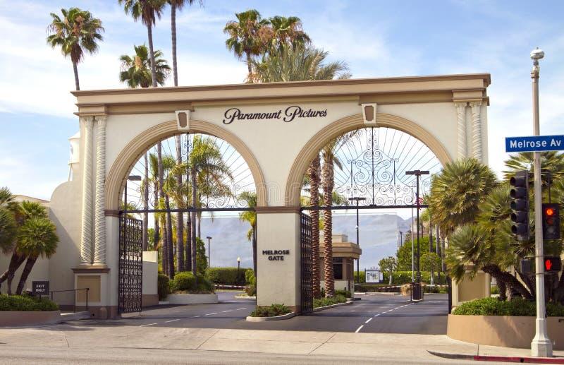 Sinal da entrada do estúdio do filme de Paramount Pictures imagem de stock royalty free