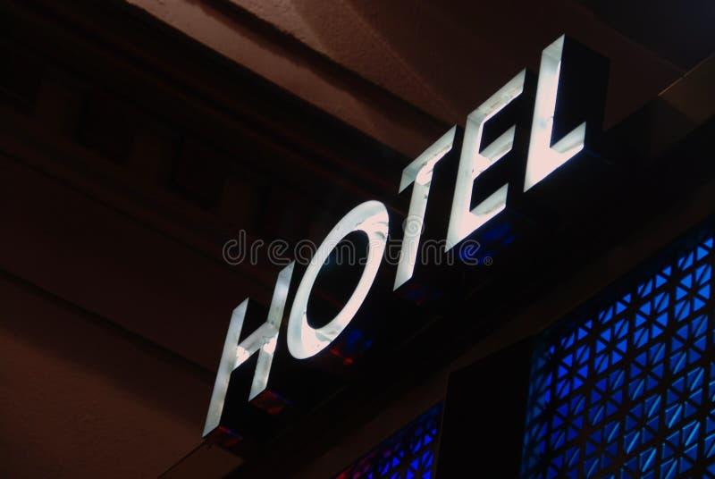 Sinal da entrada do hotel imagem de stock