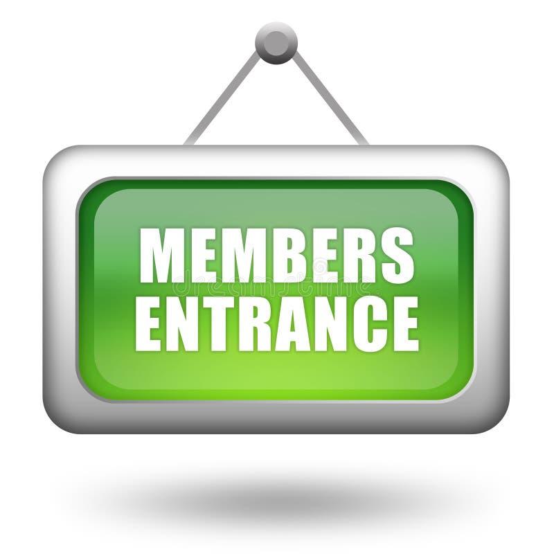 Sinal da entrada dos membros ilustração royalty free