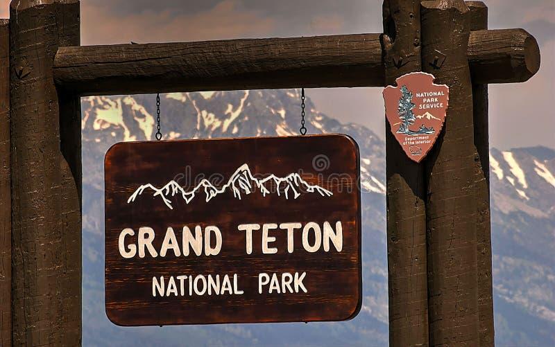 Sinal da entrada, parque nacional grande de Teton, Jackson Hole, Wyoming, EUA foto de stock royalty free