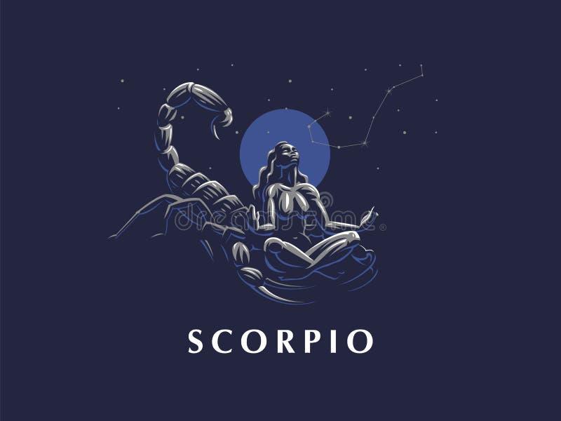 Sinal da Escorpião do zodíaco Constelação do escorpião ilustração royalty free