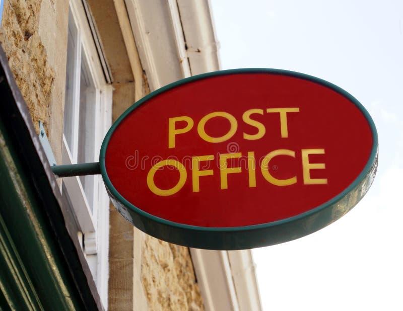 Sinal da estação de correios imagens de stock