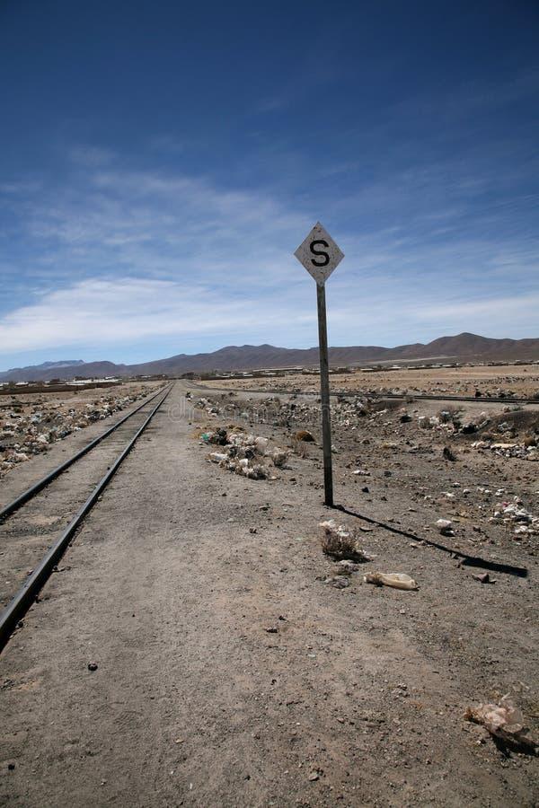 Sinal da estrada de ferro do deserto imagem de stock royalty free