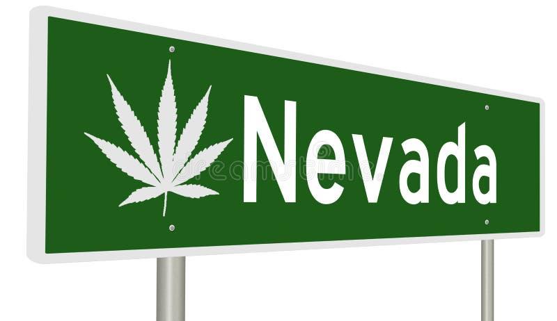 Sinal da estrada de Nevada com folha da marijuana ilustração do vetor