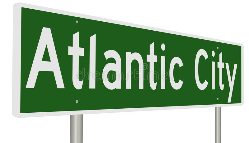 Sinal da estrada para Atlantic City ilustração royalty free
