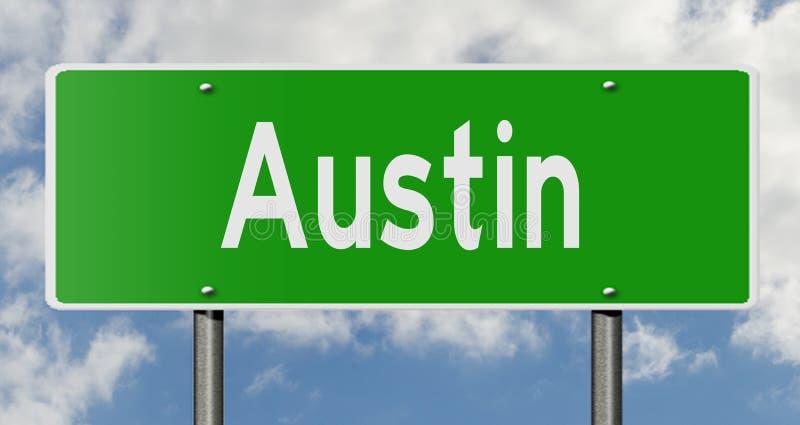 Sinal da estrada para Austin Texas ilustração royalty free
