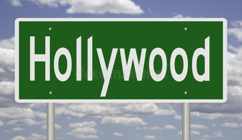 Sinal da estrada para Hollywood Califórnia ilustração stock