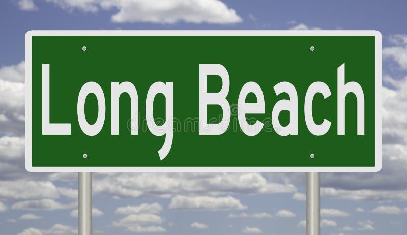 Sinal da estrada para Long Beach Califórnia ilustração do vetor