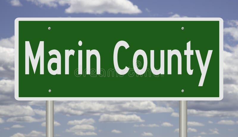 Sinal da estrada para Marin County California ilustração do vetor