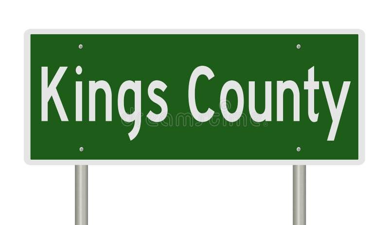 Sinal da estrada para o Condado de Kings Califórnia ilustração royalty free