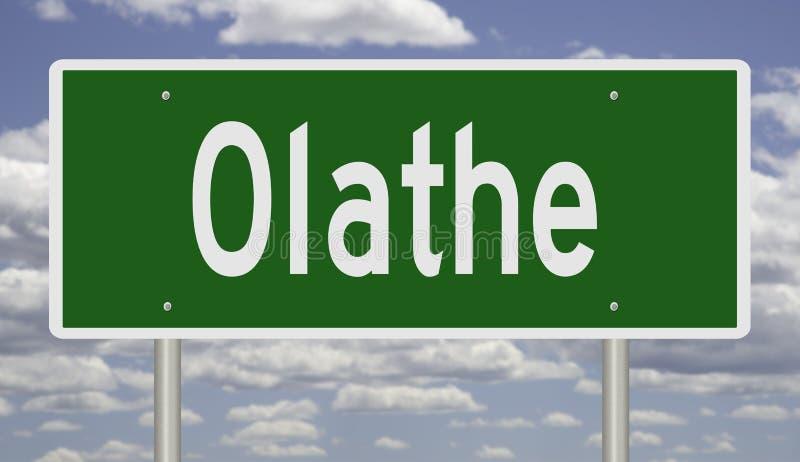 Sinal da estrada para Olathe Kansas fotografia de stock royalty free