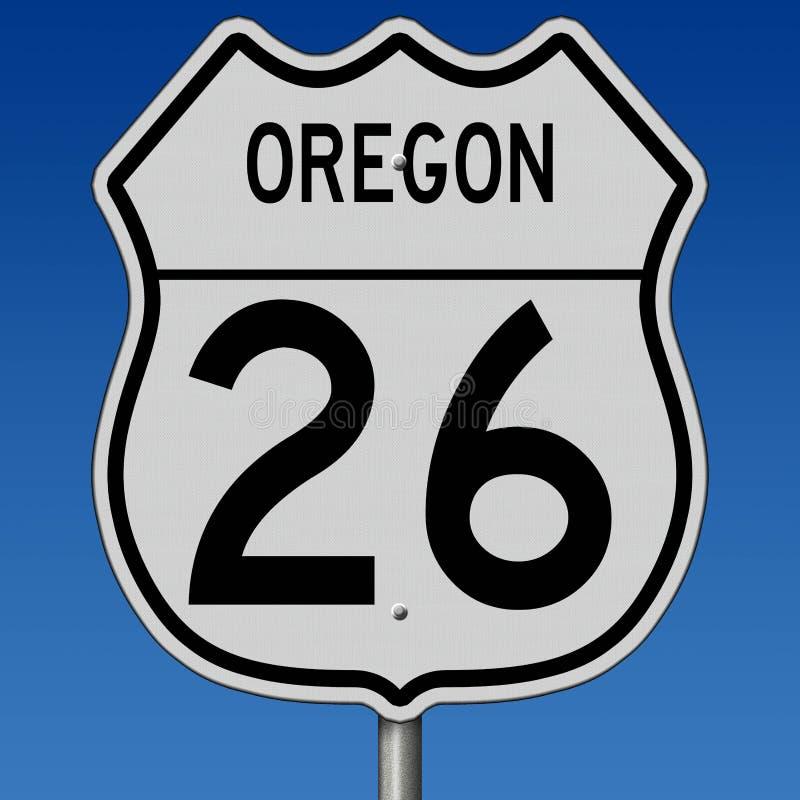Sinal da estrada para a rota 26 de Oregon ilustração do vetor