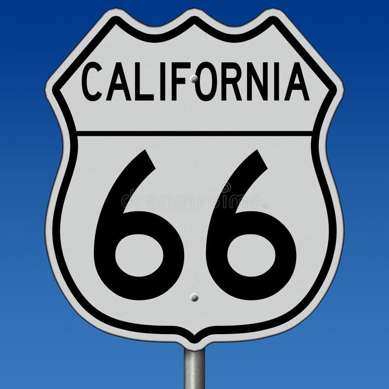 Sinal da estrada para Route 66 histórico em Califórnia ilustração do vetor
