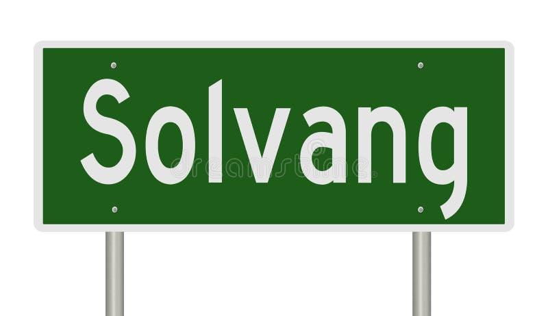 Sinal da estrada para Solvang Califórnia ilustração stock