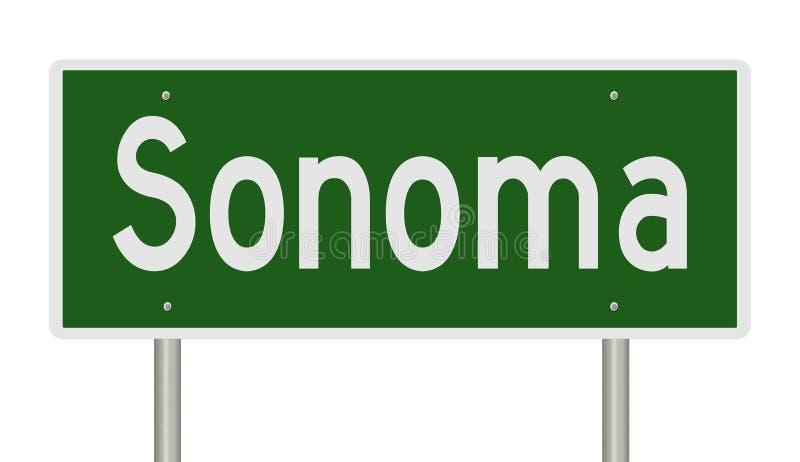 Sinal da estrada para Sonoma Califórnia ilustração stock