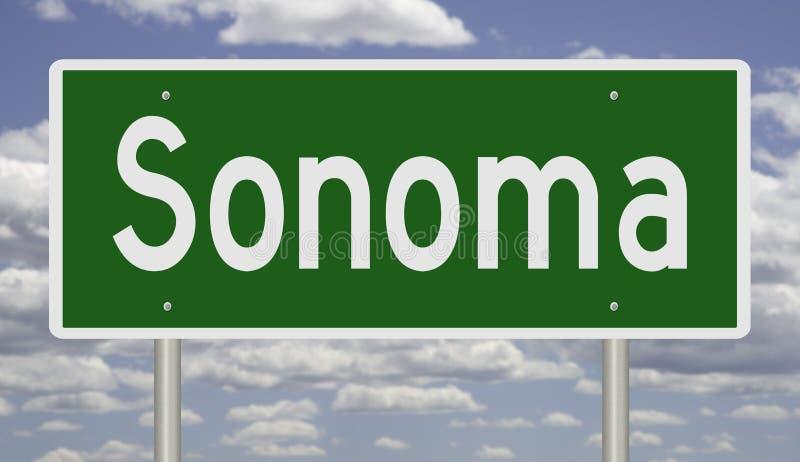 Sinal da estrada para Sonoma Califórnia ilustração royalty free