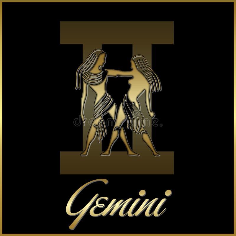 Sinal da estrela do zodíaco dos Gemini ilustração royalty free