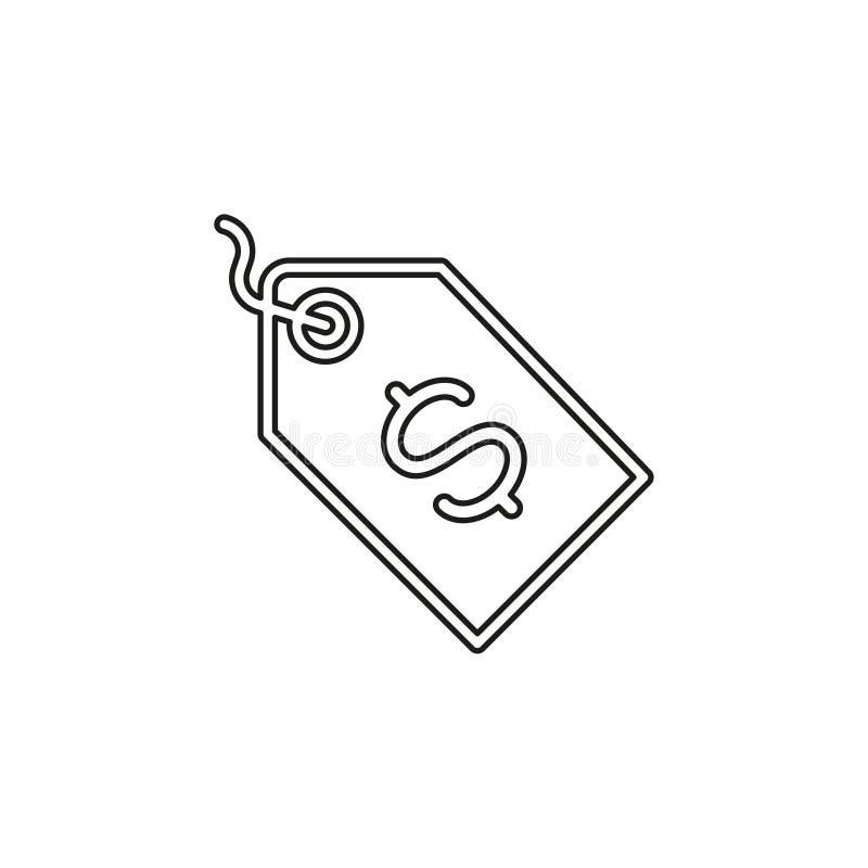 Sinal da etiqueta do d?lar do vetor, ?cone do d?lar do dinheiro ilustração royalty free