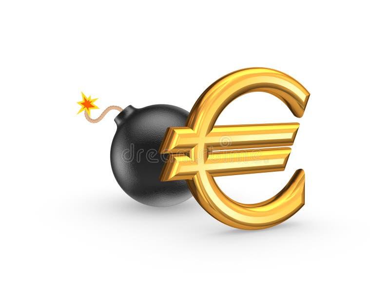 Sinal da euro- e bomba preta. ilustração royalty free