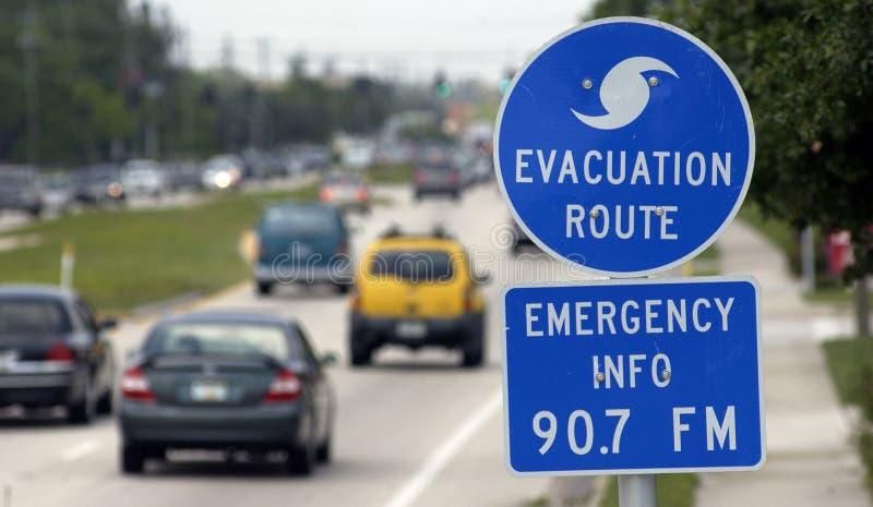 Sinal da evacuação do furacão imagem de stock