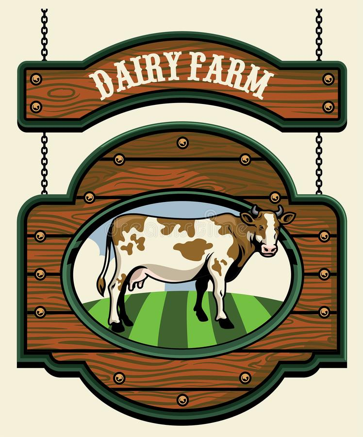Sinal da exploração agrícola de leiteria com imagem da vaca ilustração do vetor