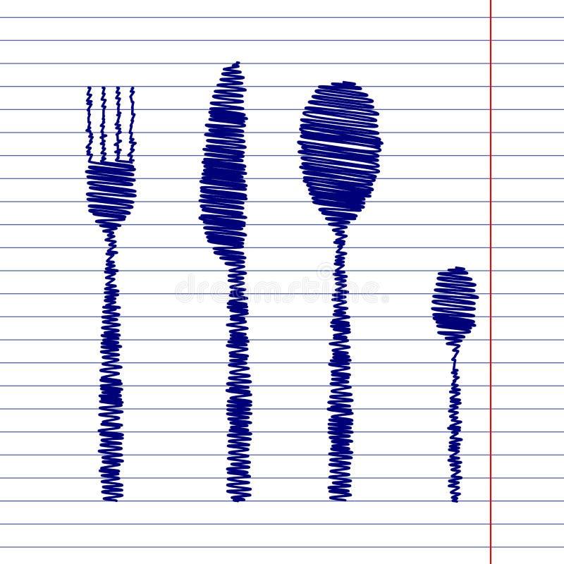 Sinal da faca da colher da forquilha ilustração stock