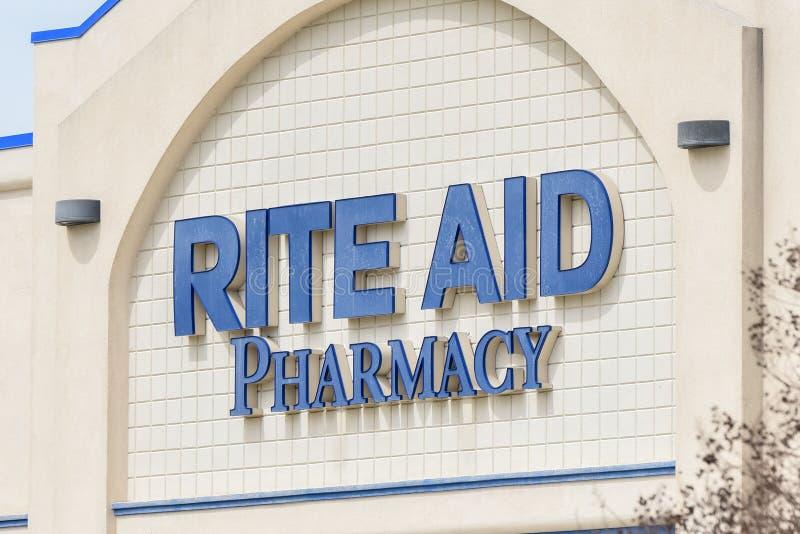 Sinal da farmácia do auxílio do rito imagem de stock