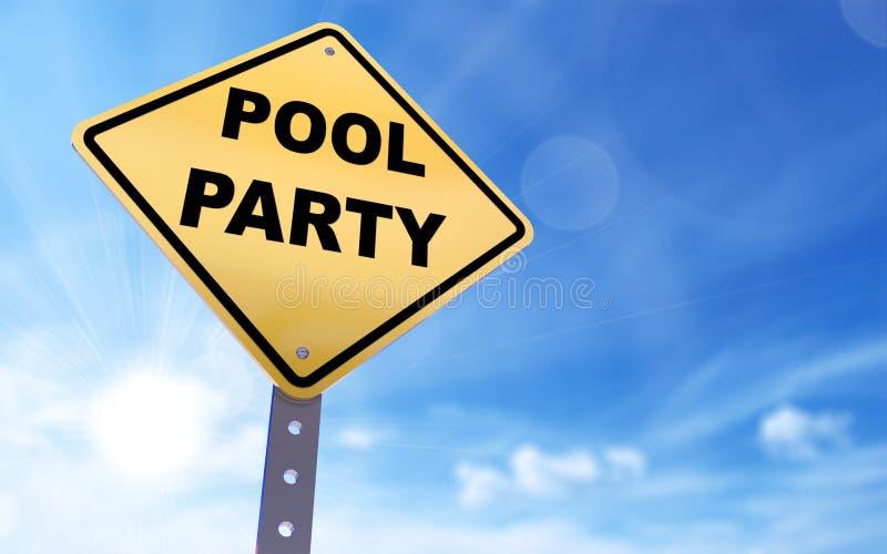 Sinal da festa na piscina ilustração do vetor