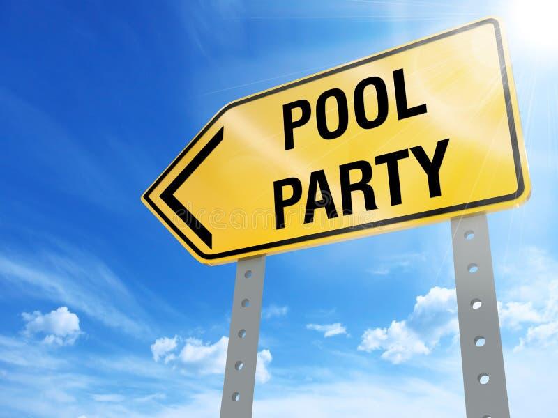 Sinal da festa na piscina ilustração royalty free