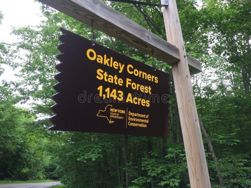 Sinal da floresta dos Estados de Nova Iorque fotos de stock