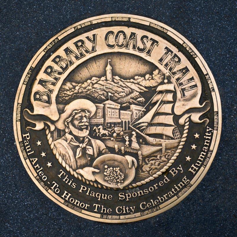 Sinal da fuga da costa de Barbary, San Francisco, Califórnia imagens de stock royalty free