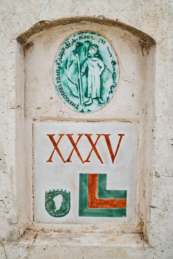 Sinal da fuga do gospel perto da igreja da multiplicação dos nacos e dos peixes, Galilee, Israel imagem de stock